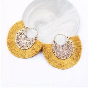 Anthropologie Amelia Filigree Silk Hoop Earrings